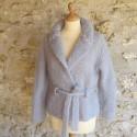 Veste en mohair de chevreau COL CHALE tricoté à la main