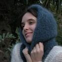 Cagoule en laine mohair de chevreau tricot main