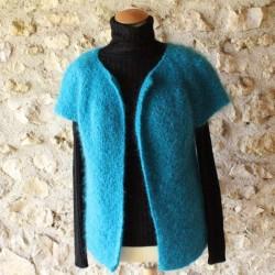Gilet en laine mohair de chevreau YSEULT tricoté à la main