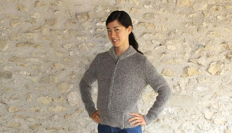 blouson en laine mohair chiné gris pour femme, local, français